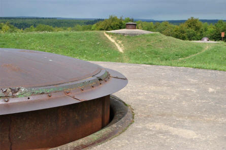 Gun turrets on top of the World War I Fort de Douaumont outside Verdun.