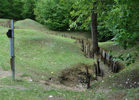 One of the many World War I trenches that still are visible near Fort de Douaumont - outside Verdun.