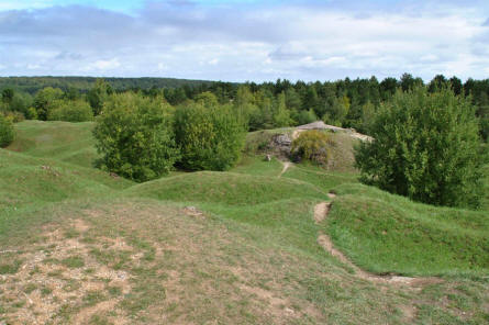 The World War I Fort de Vaux is located in a hilly area outside Verdun - the landscape is also shaped by the intense bombardments that were a part of the battles in this area during World War I.