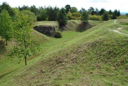 The World War I Fort de Vaux is located in a hilly area outside Verdun.