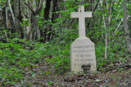 In the forest near the Fort de Vaux - outside Verdun - you can find tomb stones - like this one - for soldiers that died during the World War I battles in the area.