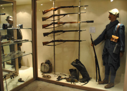 A French World War I uniform, weapon and other items displayed at the Memorial de Verdun.