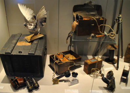 Different types of World War I communication equipment displayed at the Memorial de Verdun.