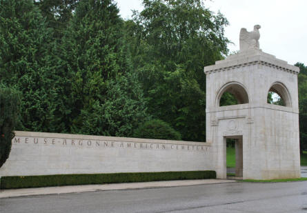 The one side of one of the two entrances to the Meuse-Argonne American Cemetery.