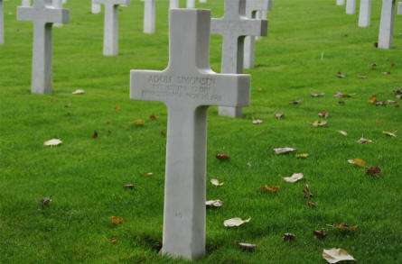 One of the many typical American World War I graves at the Meuse-Argonne American Cemetery. This soldier was killed in November 1918.