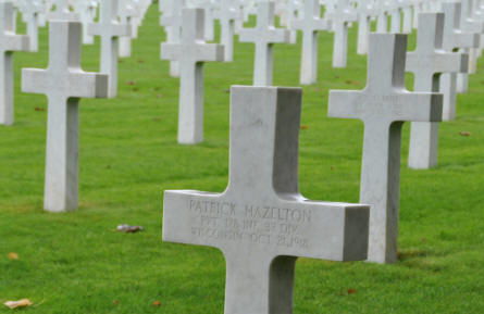 Some of the many American World War I graves at the Meuse-Argonne American Cemetery. The grave in the front belongs to a Private Patrick Hazelton - killed on the 21st of October 1918.