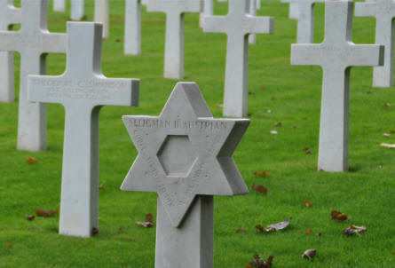 One of the many Jewish American World War I graves at the Meuse-Argonne American Cemetery. This soldier was killed in October 1918.