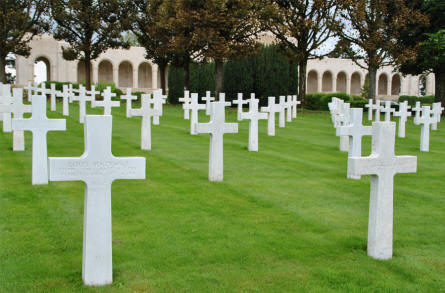 Some of the many American World War I graves at the Meuse-Argonne American Cemetery. With the memorial in the background.