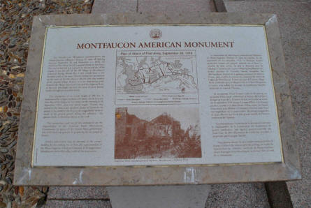 A sign telling the story of the Montfaucon American Monument.