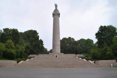 The Montfaucon American Monument and  World War I memorial seen from the road.