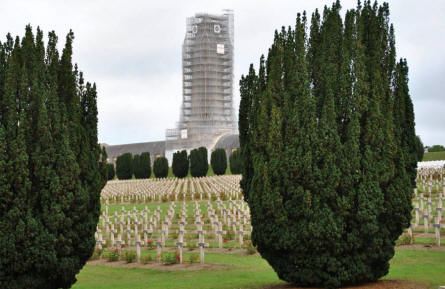 Some of the many French World War I graves at the Douaumont Ossuary & Cemetery outside Verdun. In the the background the Ossuary, which was being maintained during our visit - it is therefore covered by a scaffolding.