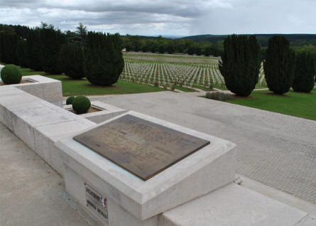 Some of the many French World War I graves at the Douaumont Ossuary & Cemetery outside Verdun - seen from just outside the Ossuary.