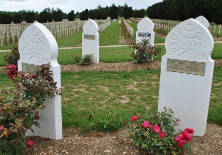 Some of the many French Muslim World War I graves at the Douaumont Ossuary & Cemetery outside Verdun.