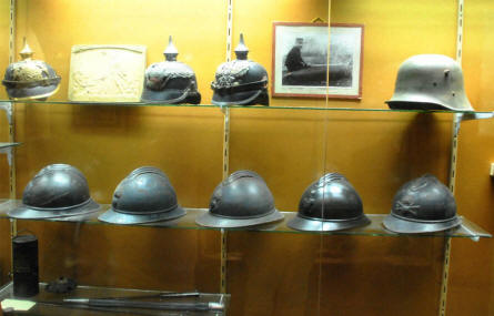 Some of the many World War I helmets displayed at the Verdun Underground Citadel.