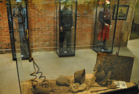 Some of the many World War I uniforms and other World War I items displayed at the Verdun Underground Citadel.