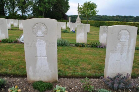 "An ""unknown"" and a ""kown"" Australian World War I grave at the Adelaide Cemetery in Villers-Bretonneux - just east of Amiens."
