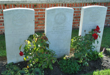 "Three ""Known to be buried in this cemetery"" World War I graves at the Bapaume Post Military Cemetery just east of Albert."