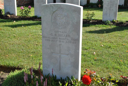 The World War I grave of Captain G. R. Heard (Royal Army Medical Corps - killed on the 2nd of July 1916) at the Bapaume Post Military Cemetery just east of Albert.