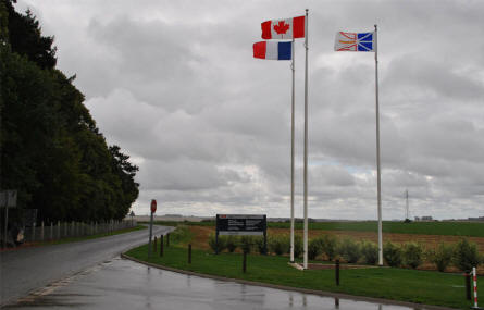 The flags outside the Beaumont-Hamel Newfoundland Memorial.