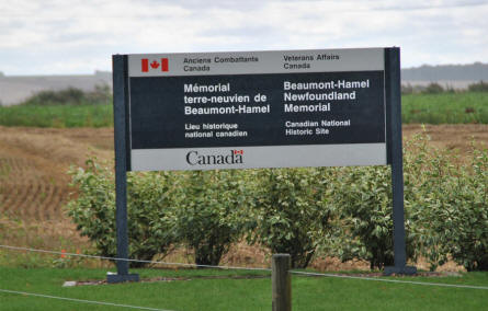 The sign outside the Beaumont-Hamel Newfoundland Memorial.
