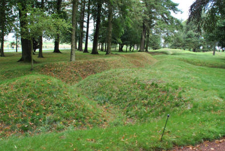 The remains of some of the World War I trenches at the Beaumont-Hamel Newfoundland Memorial. After the war these trenches were let untouched all over this huge area.
