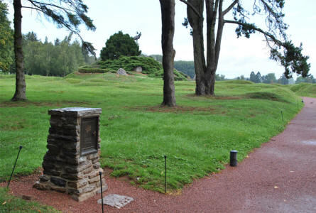 The footpath leading up to the central memorial mound at the Beaumont-Hamel Newfoundland Memorial. On the mound, surrounded by rock and shrubs native to Newfoundland, there stands a great bronze caribou, the emblem of the Newfoundland Regiment.