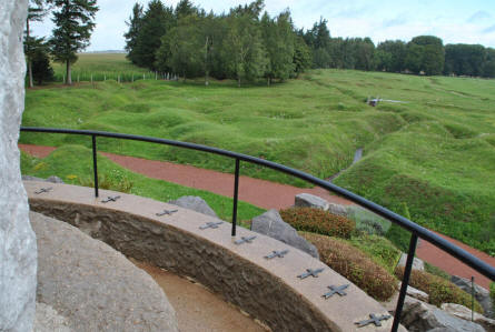 A view from the top of the central memorial mound at the Beaumont-Hamel Newfoundland Memorial. The remains of some of the World War I trenches are very visible from here.