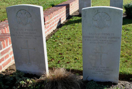 The World War I graves of Private G. T. Langdon and Private Norman Falkner Fenwick (both killed in August 1918) at the Bonnay Communal Cemetery Extension.