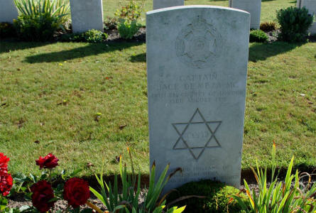 The World War I grave of Captain Jack de Meza (MC - killed on the 23rd of August 1918) at the Bonnay Communal Cemetery Extension.