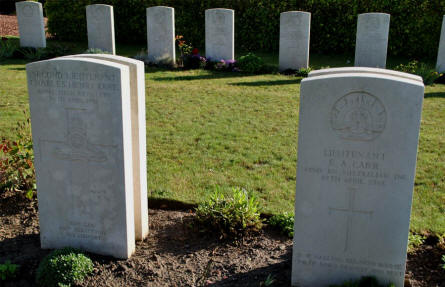 The World War I graves of Second Lieutenant Charles Henry Rawe and Lieutenant F. A. Carr (both killed in April 1918) at the Bonnay Communal Cemetery Extension.