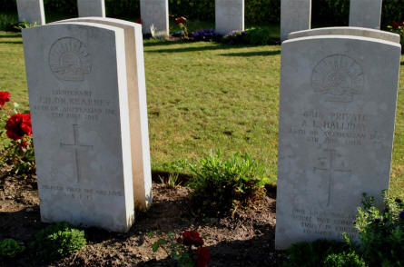 The World War I graves of Lieutenant J. H. On. Kearney and Private A. L. Halliday (both killed on the 5th of June 1918) at the Bonnay Communal Cemetery Extension.