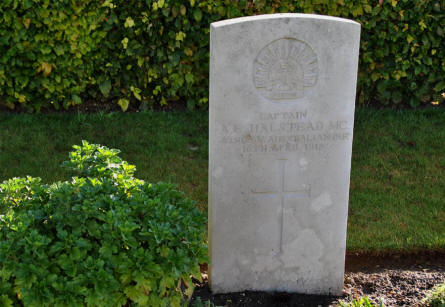 The World War I grave of the Australian Captain A. E. Halstead (MC - killed on the 16th of April 1918) at the Bonnay Communal Cemetery Extension.
