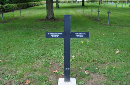 A typical German cross at the Bray-sur-Somme German Cemetery - with two names on it. Both these German soldiers were killed on the 1st of April 1918.