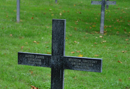 A typical German cross at the Bray-sur-Somme German Cemetery - with two names on it. Both these German soldiers were killed on the 19th of April 1918.