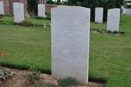 One of the Indian World War I graves at the Bray Military Cemetery at Bray-sur-Somme.