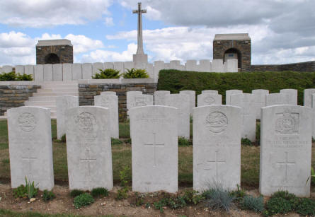 Some of the World War I graves - at different plateaus - at the Bray Vale British Cemetery at Bray-sur-Somme.