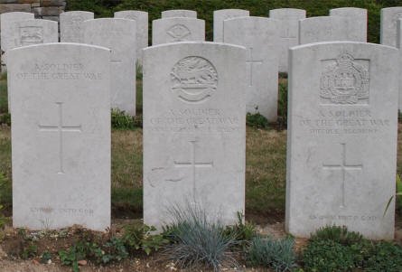 "Some of the different types of ""unknown""  World War I graves at the Bray Vale British Cemetery at Bray-sur-Somme. From the left a totally unknown soldier and then two soldiers where only the regiment has been identified.."