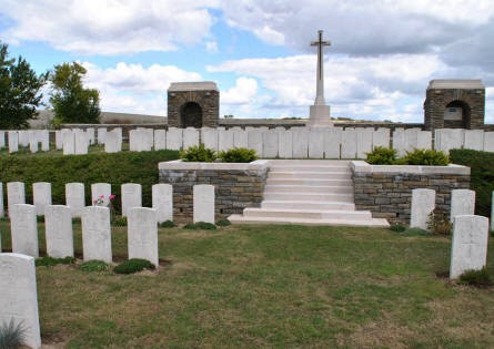 The stairs to the upper level of the Bray Vale British Cemetery at Bray-sur-Somme, where the Cross of Sacrifice is located.