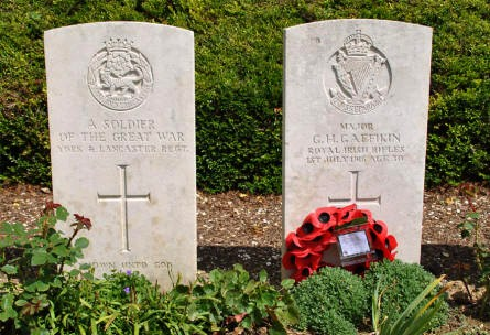 "The World War I graves of an ""unknown"" soldier and Major G.H. Gaffikin (killed on the 1st of July 1916) at the Bray Vale British Cemetery at Bray-sur-Somme."