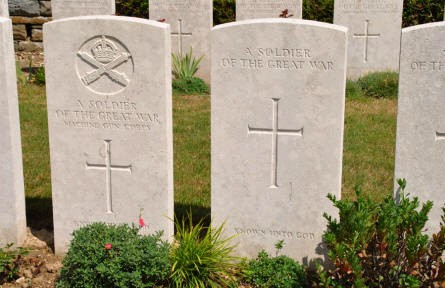 "Some of the many ""unknown"" World War I graves at the Bray Vale British Cemetery at Bray-sur-Somme."