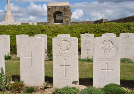 "Some of the many types of World War I graves at the Bray Vale British Cemetery at Bray-sur-Somme. From the left a totally unknown soldier, then an ""unknown"" Canadian soldier and at the right a ""known"" soldier."