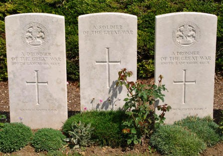 "Three of the ""unknown"" World War I graves at the Bray Vale British Cemetery at Bray-sur-Somme. Two of them are for ""A Drummer of the Great War""."