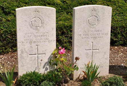 "The World War I graves of Private C. H. Roberts (killed on the 26th of September 1916) and an ""unknown"" soldier at the Bray Vale British Cemetery at Bray-sur-Somme."