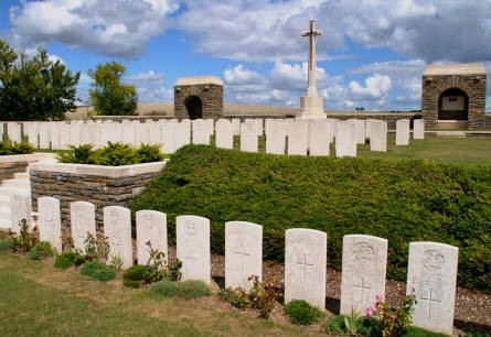 Some of the many World War I graves at the Bray Vale British Cemetery at Bray-sur-Somme.