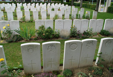 Some of the many World War I graves at the Daours Communal Cemetery Extension.