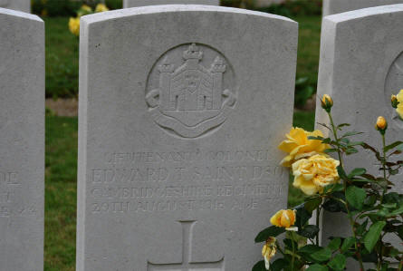 The World War I grave of Lieutenant Colonel Edward T. Saint (DSO - killed 29th of August 1918) at the Daours Communal Cemetery Extension.