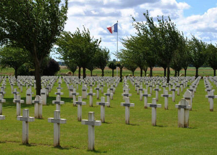 A section of the Dompierre-Becquincourt Cemetery.