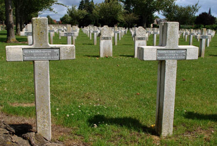Two of the French World War I graves at the Dompierre-Becquincourt Cemetery. Both soldiers were killed in 1914.