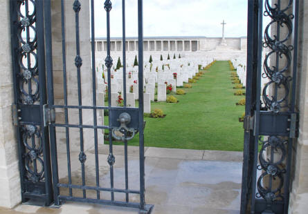 A look thru the gate into the Pozieres British Cemetery & Memorial.