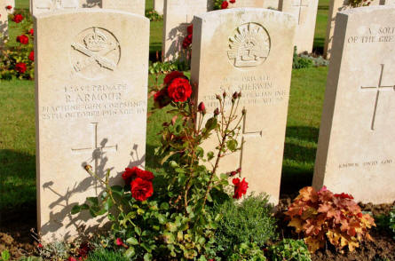 The World War I graves of Private R. Armour and Private S. C. Sherwin (both killed in 1916) at the Pozieres British Cemetery.